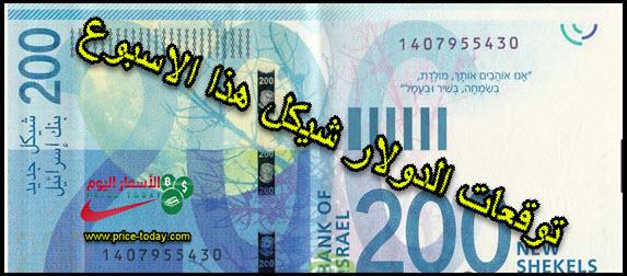 توقعات الدولار شيكل الى 1 فبراير 2019